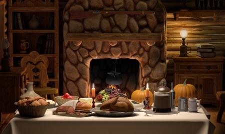 Eine vollständige festgelegt Thanksgiving-Dinner für eine Tabelle in gemütlich Kabine Standard-Bild - 9524603