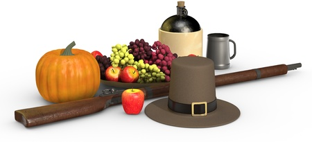 Thanksgiving objects on a white background, including a musket, a pumpkin, pilgrims hat, fruit, apple, grapes, jug of cider and pewter mug Imagens