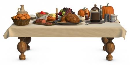 Een volledige Thanksgiving diner op een tafel geïsoleerd op wit Stockfoto