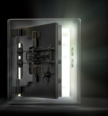 A stainless steel safe vault with beams of light pouring out in a dark room. photo