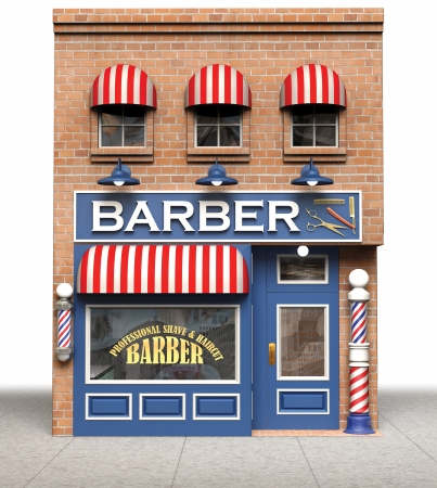 白い背景で隔離の理髪店