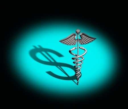 healthy economy: Chrome caduceus casting a shadow of a dollar on a green background under a spotlight