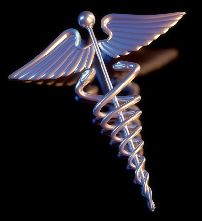 healing practitioners: A Caduceus laying a black background