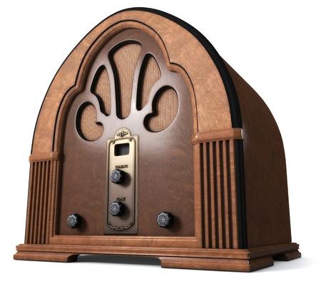 Vintage Cathedral Radio auf weißem Hintergrund isoliert. Lizenzfreie Bilder