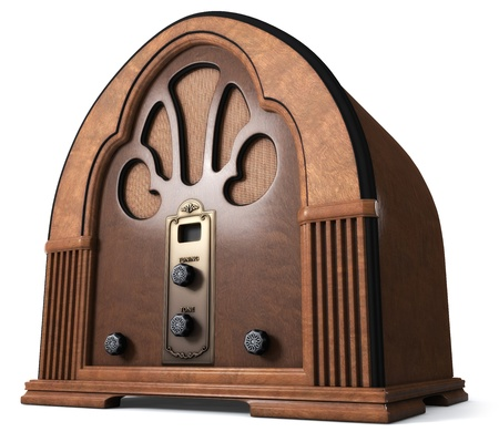 Vintage Cathedral Radio isolated on white Background.