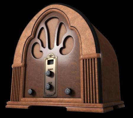 Vintage Cathedral Radio isolated on Black Background. Stock Photo