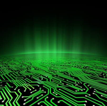 electronic circuit: Landscape made of a printed circuit board with a glowing green horizon
