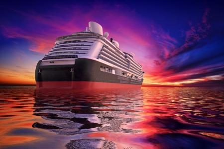 Luxe Cruiseschip vertrokken in de zonsondergang Stockfoto