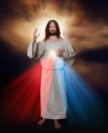 Divine Mercy image of Jesus as depicted by Sister Saint Faustina Stock Photo