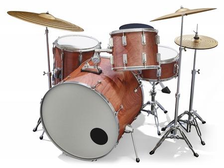 Een jazz drumstel op een witte achtergrond