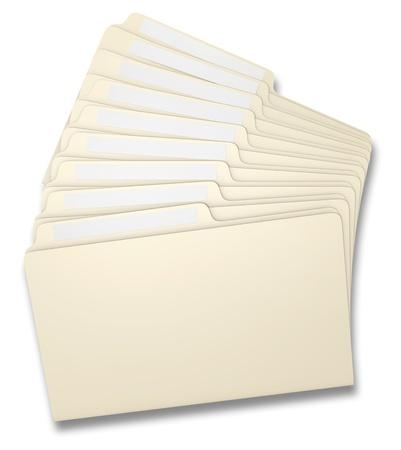fanned: Eight manila file folders fanned on a white background