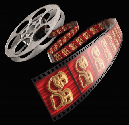 comedic: Movie film reel isolated on a white background with comedytragedy masks on the celluloid Stock Photo