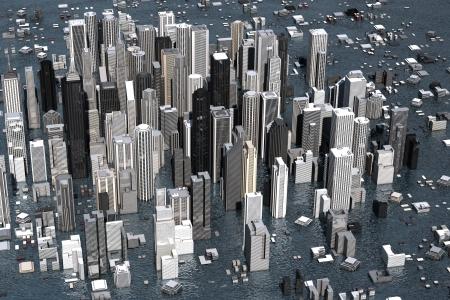 devastation: Urban metropolis under water from rising sea levels