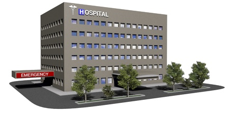 Generic hospital model on a white background 스톡 콘텐츠