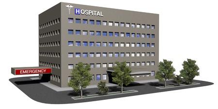 edificio: Hospital modelo gen�rico sobre un fondo blanco