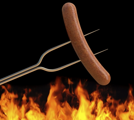 hot dog on a long fork over a fire photo