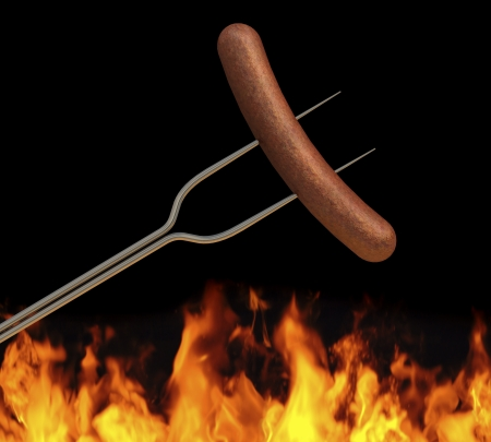hotdog: hot dog on a long fork over a fire  Stock Photo