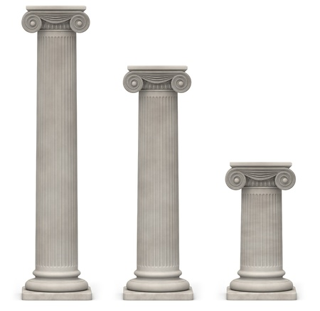 Three Ionic, stone columns of varying heights on a white background Stock Photo
