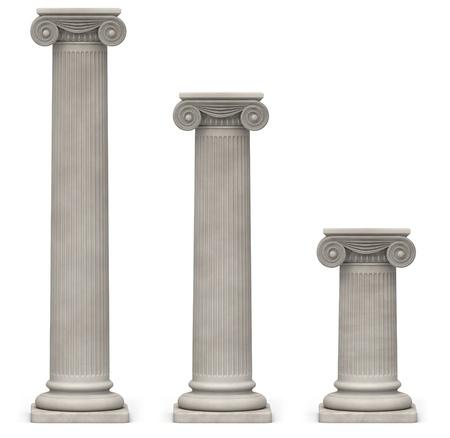 columnas romanas: Tres iónicos, columnas de piedra de diferentes alturas sobre un fondo blanco