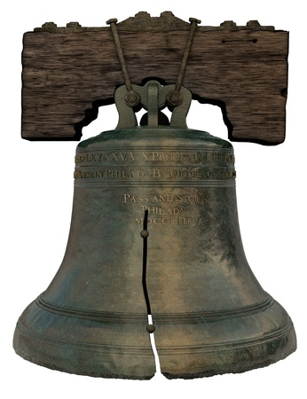 campanas: Recreaci�n 3D de la Campana de la Libertad sobre fondo blanco Foto de archivo
