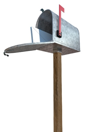 A standard galvanized mailbox on post, with mail and flag up over white. photo