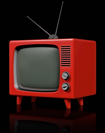 trapezoid: Retro plastic television Stock Photo