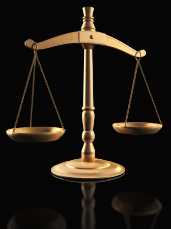 Brass Scales of Justice over black Stock Photo - 15440318
