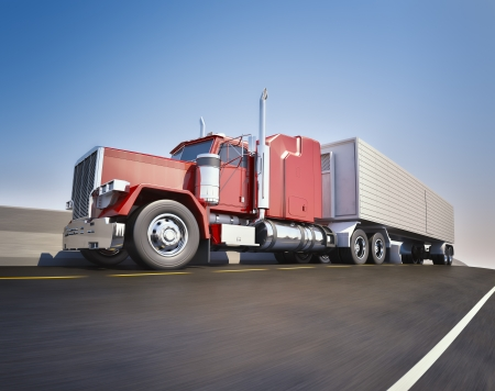 truck: An 18 wheeler Semi-Truck sppeding on highway Stock Photo