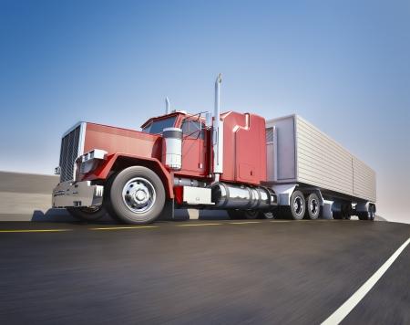trailer: Un cami�n de 18 ruedas semi-cami�n en la carretera sppeding