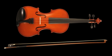 A violin and bow on white Stock Photo - 15440265