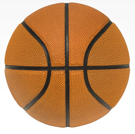 symetry: Close up of a basketball on a white background. Stock Photo