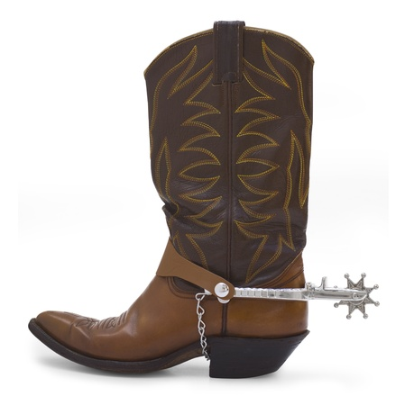 Side view of a brown cowboy boot and silver spur on a white background.
