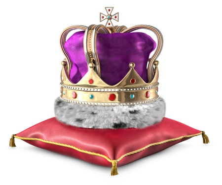 Illustration of a crown sitting on a red satin pillow on a white background. Stock Photo