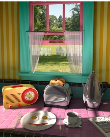 quaint: Illustration of a breakfast sitting on the table in a kitchen and the view out the window.