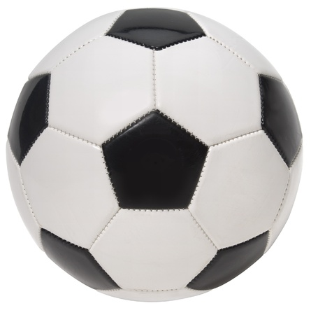 symetry: Close up of a soccer ball on a white background. Stock Photo