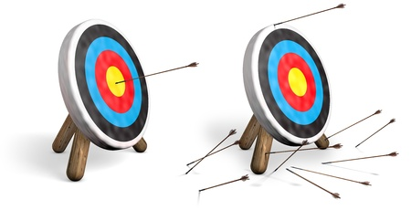 Two archery targets on white; one with bulls eyes and another with all arrows missing the target 스톡 콘텐츠