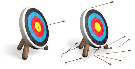 Zwei Bogenschießen Ziele auf Weiß; ein mit Bullen Augen und ein weiteres mit allen Pfeilen das Ziel verfehlt