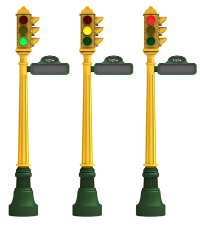 Three retro traffic lights featuring green, amber and red lights on a white background with clipping paths