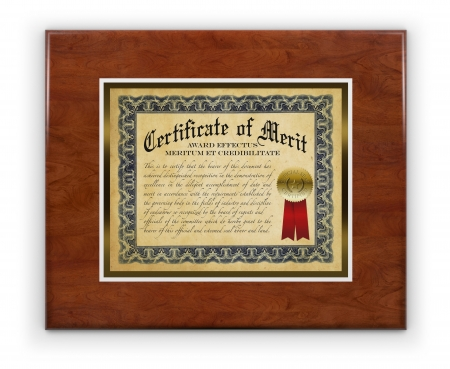 credibility: Award certificate laminated on wood hanging on a white wall, isolated with a clipping path