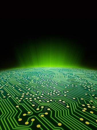 Digital landscape consisting of a glowing green sci-fi sunrise over a printed circuit board formated for use as a report cover for a technology firm Stock Photo