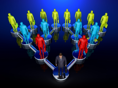 command: Graphic depiction of a downline or chain of command in a sales structure showing one man at the top, branching out exponentionally