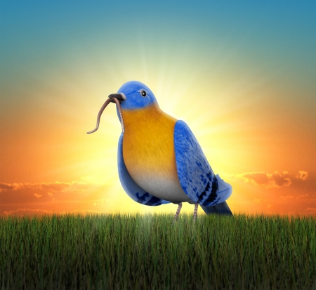Bluebird standing in green grass, catching tha worm as the sun rises behind him photo