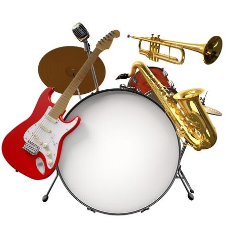 Jazz montage, bestehend aus einem Drum-Kit, electic guitare, Mikrofon, Saxophon und Trompete auf weißem Hintergrund Lizenzfreie Bilder