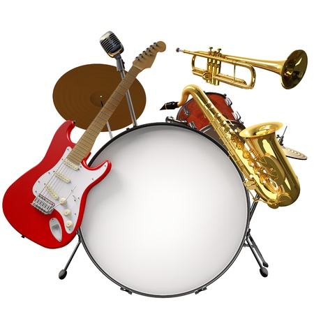 Jazz montage consisting of a drum kit, electic guitare, microphone, saxophone and trumpet on a white background