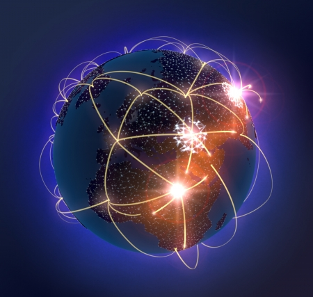 networked: light arches flying out of the earth and populating until the whole earth is networked and brightly and becomes lit. Stock Photo