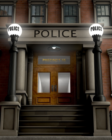 Facade of a police station rendered in a retro/traditional style Stock Photo - 16948214