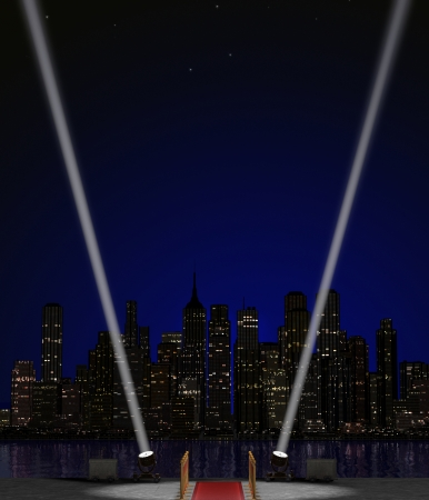 Background image for an entertainment event poster featuring searchlights against a skyline and night sky