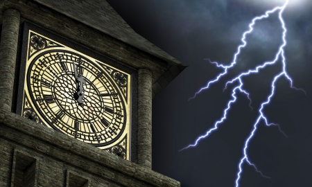 streak lightning: Clock face on a clock tower with the hands near midnight while lightning bolts streak through the sky in the background