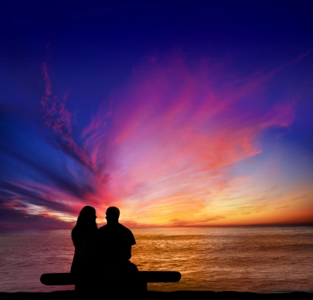 Couple on a date overlooking the Pacific from Sunset Cliffs, Point Loma in San Diego Stock Photo