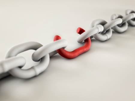 A chain with a broken link highlighted red to highlight the weak link. Banque d'images